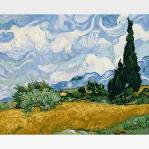 A Wheat Field with Cypresses Paint By Numbers Kit   - Van Gogh - Painting By Numbers Kit - Artwerkes