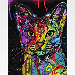 Abstract Cat Paint By Numbers Kit - Designer Cat - Painting By Numbers Kit - Artwerkes