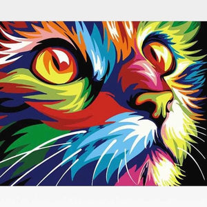 Abstract Colorful Cat Face Paint By Numbers Kit - Painting By Numbers Kit - Artwerkes
