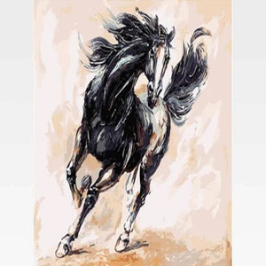 Black Horse Running Painting By Numbers Kit - Bandita - Painting By Numbers Kit - Artwerkes