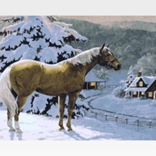 Christmas Horse Paint By Numbers Kit - Painting By Numbers Kit - Artwerkes