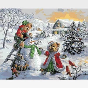 Christmas Paint by Numbers Kit - Snowman and  Bears - Painting By Numbers Kit - Artwerkes
