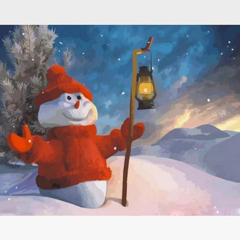 Christmas Snowman - Paint by Numbers Kit - Painting By Numbers Kit - Artwerkes
