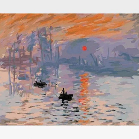 Claude Monet Impression Sunrise Paint By Numbers Kit - Painting By Numbers Kit - Artwerkes