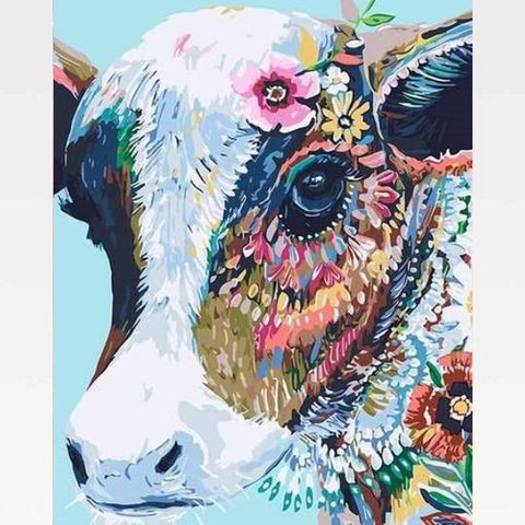 Colorful Cow Paint By Numbers Kit - Painting By Numbers Kit - Artwerkes
