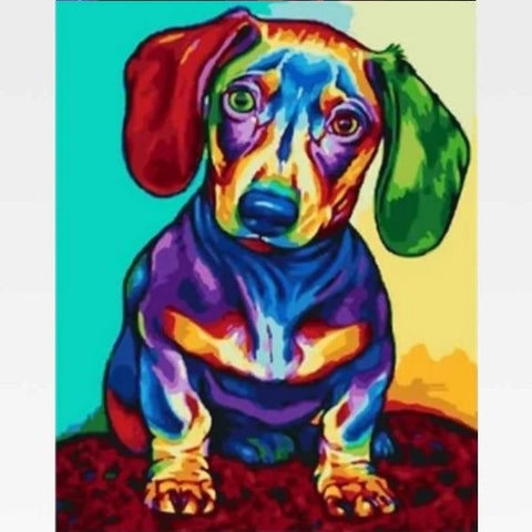 Colorful Dachshund Paint By Numbers Kit - Painting By Numbers Kit - Artwerkes