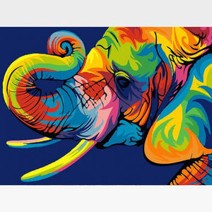 Paint By Numbers Kit Colorful Elephant - Painting By Numbers Kit - Artwerkes
