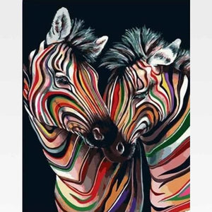 Colorful Zebra Paint By Numbers Kit - Painting By Numbers Kit - Artwerkes
