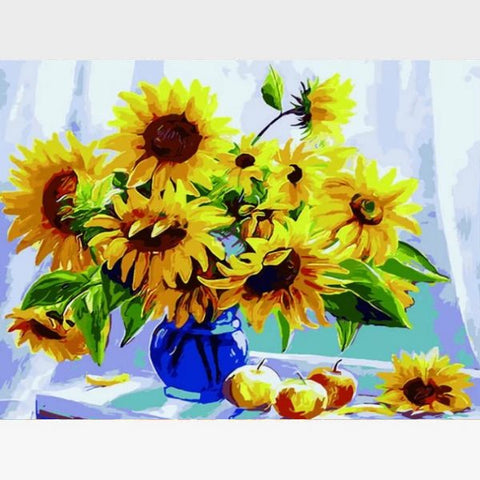 Image of DIY Abstract Sunflowers Paint By Numbers Kit - Sunshine Flowers - Painting By Numbers Kit - Artwerkes