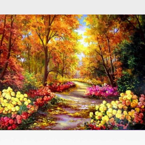 DIY Autumn Landscape Paint By Numbers Kit   - Wooded Path - Painting By Numbers Kit - Artwerkes