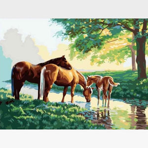 DIY Brown Horses Paint By Numbers Kit - Painting By Numbers Kit - Artwerkes
