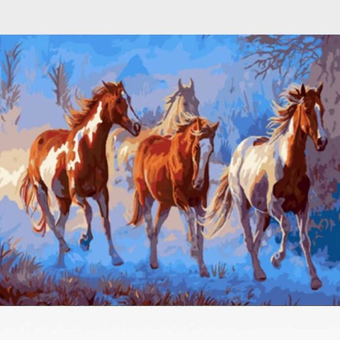 DIY Brown Horses Paint By Numbers Kit Online  - California Chrome - Painting By Numbers Kit - Artwerkes