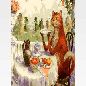 DIY Cat Paint By Numbers Kit Online  - Cat Tea Party - Painting By Numbers Kit - Artwerkes