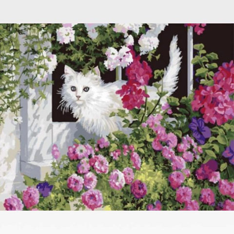 Image of DIY Cat Paint By Numbers Kit Online  - Tuff Kitty - Painting By Numbers Kit - Artwerkes