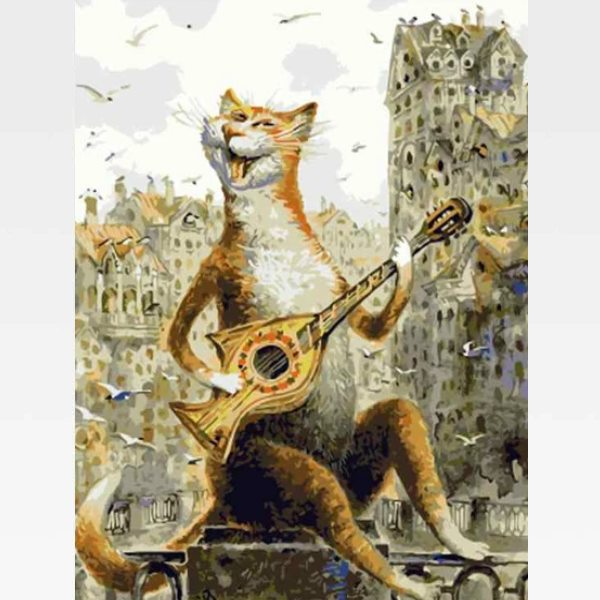 DIY Cat Playing Guitar Paint By Numbers Kit Online  - Rockstar - Painting By Numbers Kit - Artwerkes