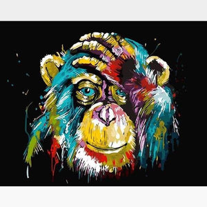DIY Chimpanzee Paint By Numbers Kit Online - Astro Chimp - Painting By Numbers Kit - Artwerkes