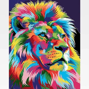 DIY Colorful Lion Paint By Numbers Kit Online  - King Leo - Painting By Numbers Kit - Artwerkes