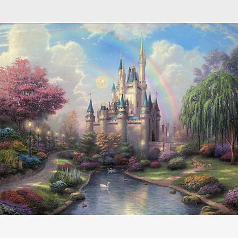 DIY Disney Castle Paint By Numbers Kit Online  - Magical Castle - Painting By Numbers Kit - Artwerkes