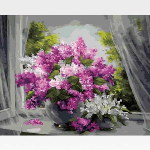 Image of DIY Flower Blossoms Paint By Numbers Kit Online  - Country Basket Blooms - Painting By Numbers Kit - Artwerkes