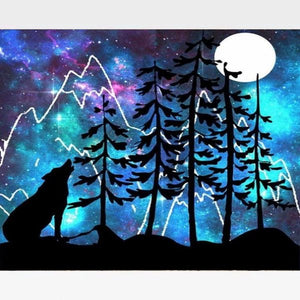Full Moon Howling Wolf Paint By Numbers Kit - Painting By Numbers Kit - Artwerkes