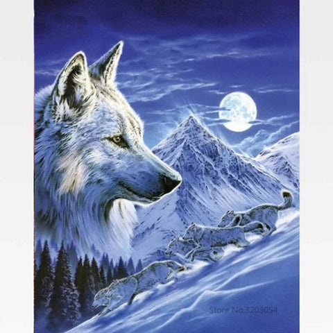 DIY Full Moon Wolf  Painting By Numbers Kit - Painting By Numbers Kit - Artwerkes