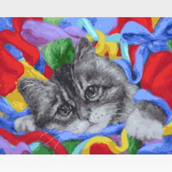 DIY Grey Cat Paint By Numbers Kit Online  - Tabby Cat - Painting By Numbers Kit - Artwerkes
