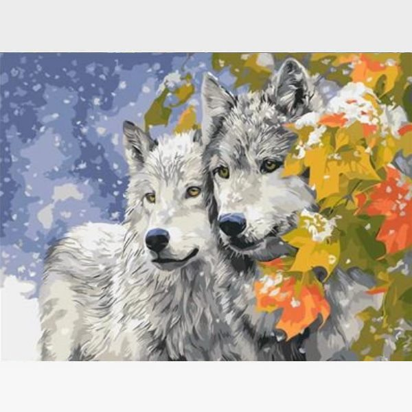 DIY Grey Wolf Paint By Numbers Kit - Noble Wolves - Painting By Numbers Kit - Artwerkes