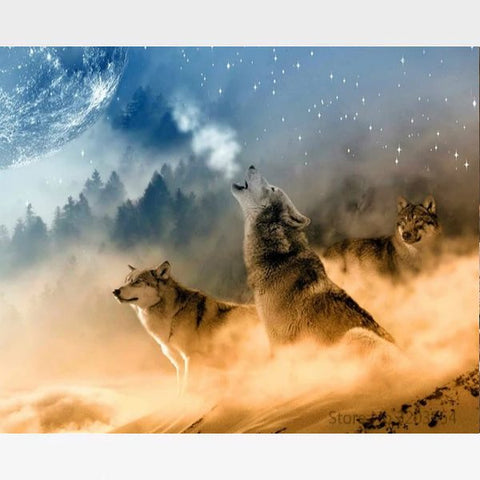DIY Howling Wolf Painting By Numbers Kit - Painting By Numbers Kit - Artwerkes