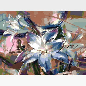 Purple Lilly Flowers Paint By Numbers Kit - Painting By Numbers Kit - Artwerkes