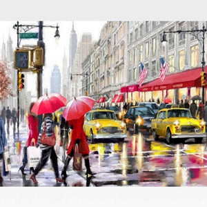 DIY New York City  Paint By Numbers Kit Online - Rainy Day - Painting By Numbers Kit - Artwerkes