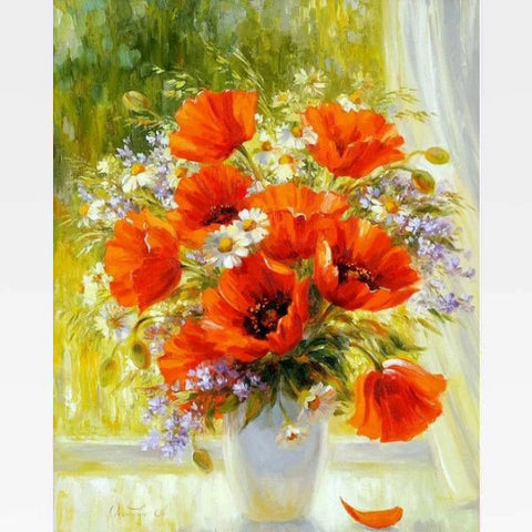 DIY Orange Flowers Paint By Numbers Kit Online  - Orange Love - Painting By Numbers Kit - Artwerkes
