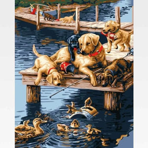 DIY Paint By Numbers Dog Potraits Kit Online  - Dog Life - Painting By Numbers Kit - Artwerkes