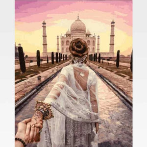 DIY Paint By Numbers Kit Online  - The Taj Mahal - Painting By Numbers Kit - Artwerkes