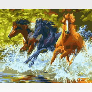 DIY Paint By Numbers Kit Online - Wild Horses - Painting By Numbers Kit - Artwerkes