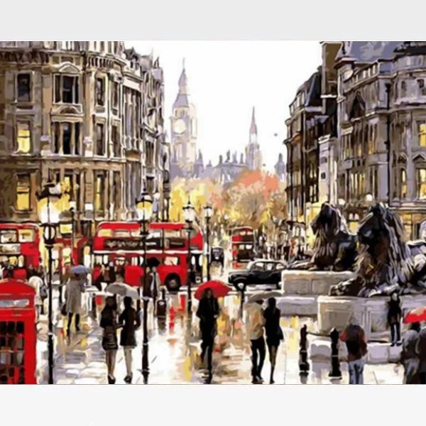 DIY Paint By Numbers London Scene Kit  - Day In London - Painting By Numbers Kit - Artwerkes