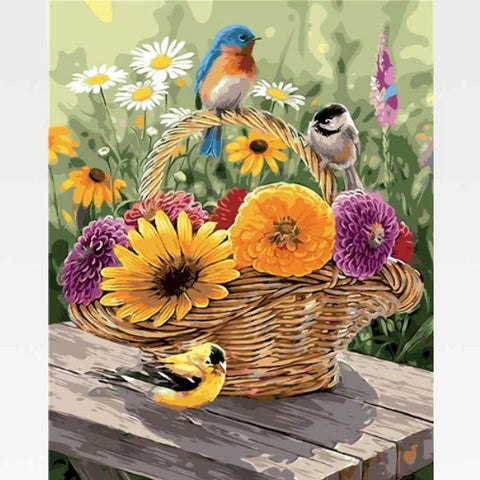 Image of DIY Painting By Numbers Birds Kit Online - Basket Of Flowers - Painting By Numbers Kit - Artwerkes