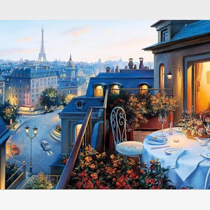 DIY Paris Nostalgia Paint By Numbers Kit - Evening In Paris Scene - Painting By Numbers Kit - Artwerkes