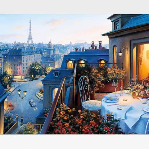 Image of DIY Paris Nostalgia Paint By Numbers Kit Online  - Evening In Paris Scene