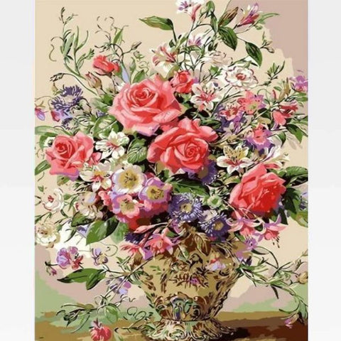 Image of DIY Pink Rose Flower Paint By Numbers Kit Online - Turn Up The Pink - Painting By Numbers Kit - Artwerkes