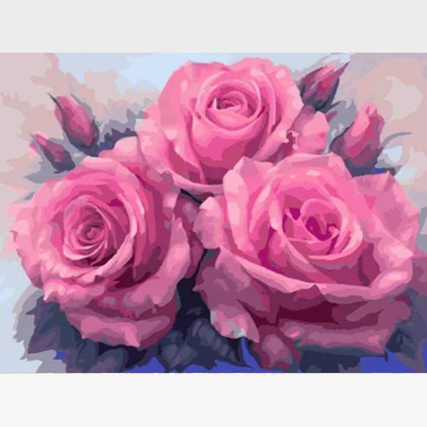 DIY Pink Roses Paint By Numbers Kit Online  - Pink Roses Bouquet - Painting By Numbers Kit - Artwerkes