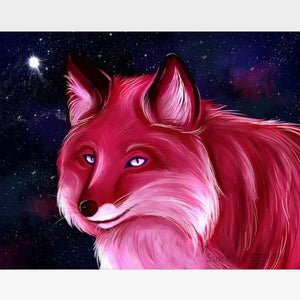 DIY Pink Wolf Painting By Numbers Kit - Painting By Numbers Kit - Artwerkes