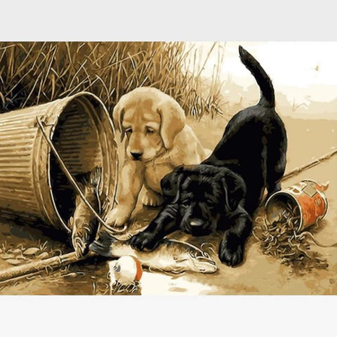 Image of DIY Puppy Paint By Numbers Kit Online  - Two Pups - Painting By Numbers Kit - Artwerkes