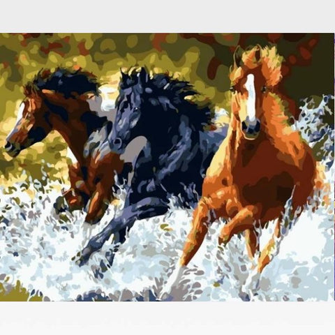 Image of DIY Threes Horses Paint By Numbers Kit Online  - Team Budweiser - Painting By Numbers Kit - Artwerkes