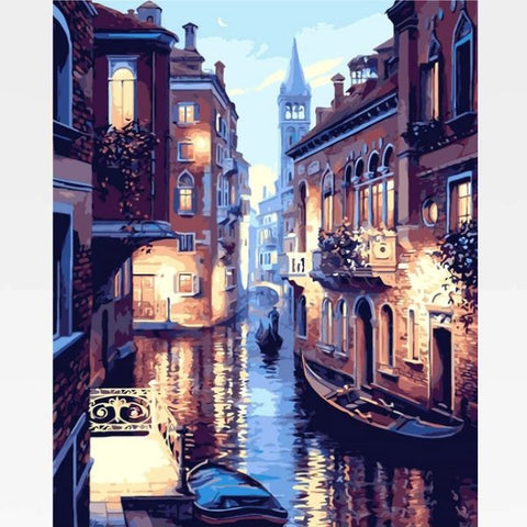 Image of DIY Venice Canal Paint By Numbers Kit - City Lights - Painting By Numbers Kit - Artwerkes