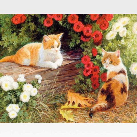 Image of DIY Vintage Cat Paint By Numbers Kit - Cat Summer - Painting By Numbers Kit - Artwerkes