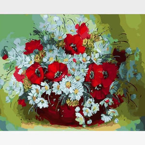 DIY White Flowers In Vase Paint By Numbers Kit - Exotic Grace - Painting By Numbers Kit - Artwerkes