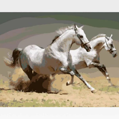 DIY White Horses Paint By Numbers Kit  - Pharaoh's Stallions - Painting By Numbers Kit - Artwerkes