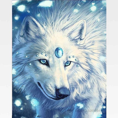 DIY White  Wolf Painting By Numbers Kit - Painting By Numbers Kit - Artwerkes