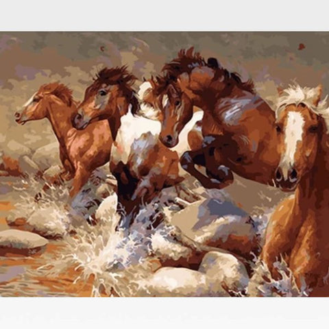 Image of DIY  Wild Stallions Paint By Numbers Kit Online - Painting By Numbers Kit - Artwerkes
