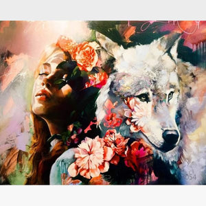 DIY Wolf Paint By Numbers Kit - Wolf & Girl - Painting By Numbers Kit - Artwerkes